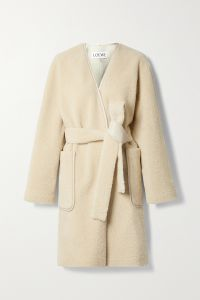 loewe belted leather-trimmed shearling coat