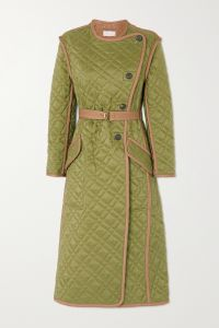 chloé belted quilted shell coat