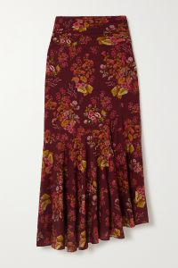 peony + net sustain ruched floral-print organic cotton-blend skirt