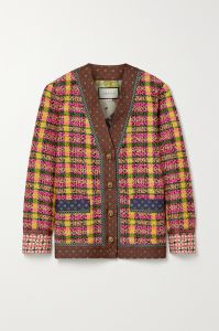 gucci silk-trimmed checked wool-blend tweed jacket