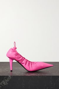 balenciaga scrunch knife ruched neon leather pumps