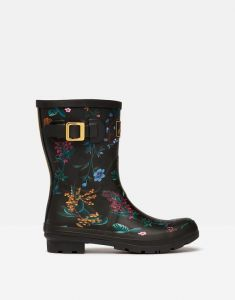 joules molly - mid height printed rain boots - black