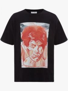 oversized printed face t-shirt j w anderson