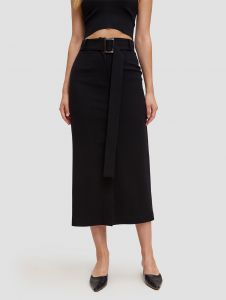 wool belted pencil skirt