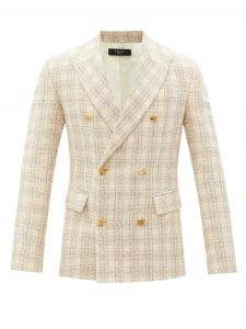 amiri check double-breasted bouclé-tweed jacket