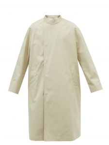 loewe collarless cotton-canvas trench coat