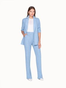 akris long light blue jacket in linen with seam pockets