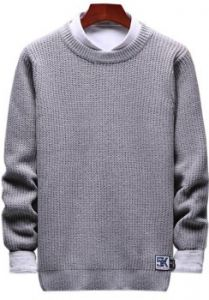 solid crewneck patch detail pullover knit sweater