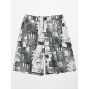 old annual ring print casual shorts