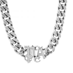 palm angels chain necklace black & silver