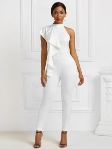white jumpsuit high collar sleeveless piping stretch polyester skinny