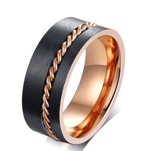 two tone chain design stainless steel men´s black wedding band