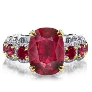 two tone double prong oval ruby engagement ring