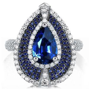 multi halo blue pear cut engagement ring