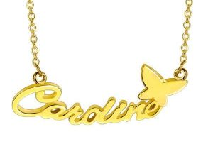 butterfly personalized name necklace in 18k gold plating