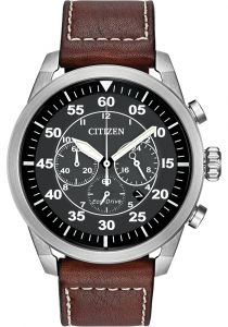 citizen mens eco-drive stainless steel and leather watch