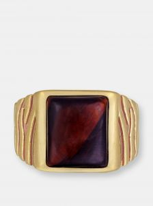 luvmyjewelry chatoyant red tiger eye stone signet ring in brown rhodiu